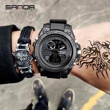 2019 nowy SANDA męska oglądać najlepsze marki luksusowe sportowy zegarek w stylu wojskowym męska wodoodporna S Shock cyfrowy zegarek relogio masculino