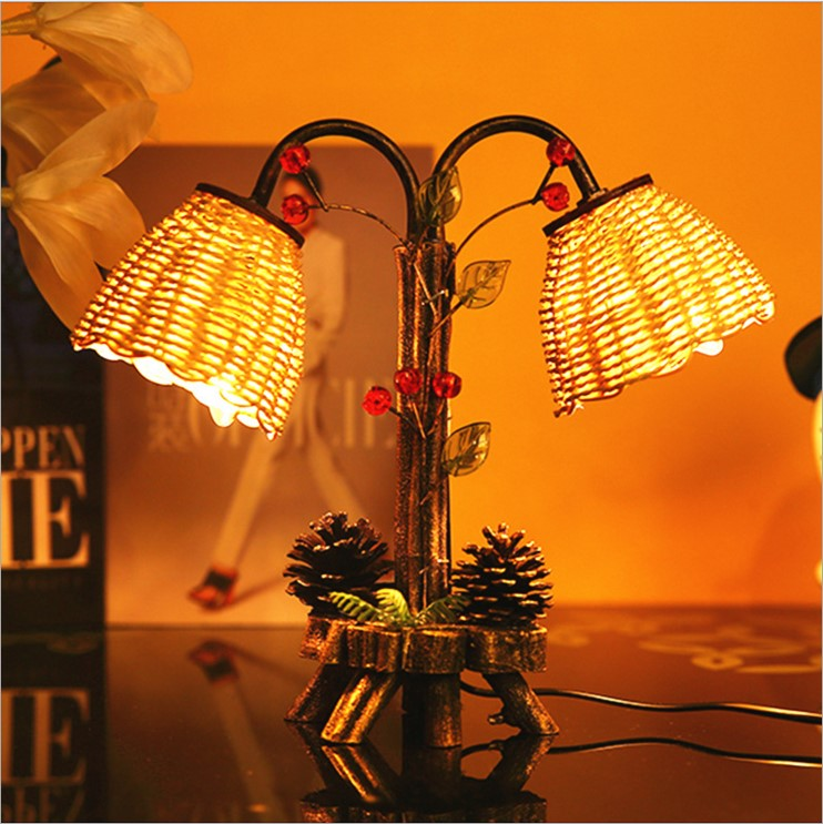 Creative garden style retro wooden double bedroom bedside  bulb pine decoration light wooden ornaments table lamps LO8210Creative garden style retro wooden double bedroom bedside  bulb pine decoration light wooden ornaments table lamps LO8210