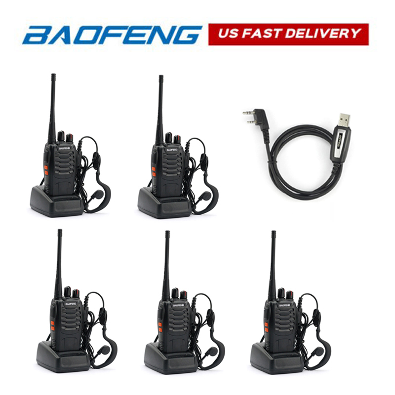 5pcs Baofeng BF-888S 400-470MHz 5W CTCSS Dual-Band Two-way Ham Radio HT Walkie Talkie Transceiver With Programming Cable
