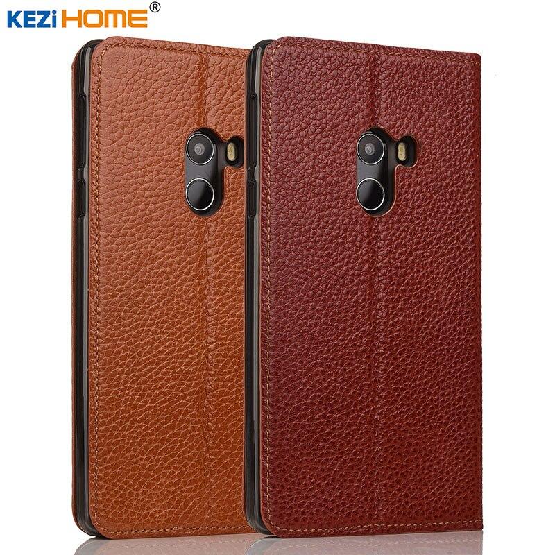 imágenes para Xiaomi mi caso Mix KEZiHOME Litchi Cuero Del Soporte Del Tirón del Cuero Genuino Cubierta capa Para Xiaomi MIX Pro cajas Del Teléfono coque