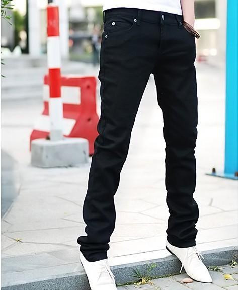 Venda do presente do ano novo dos homens auto calça jeans lápis pés calças dos homens jeans skinny calças dos homens por atacado de varejo e dropship