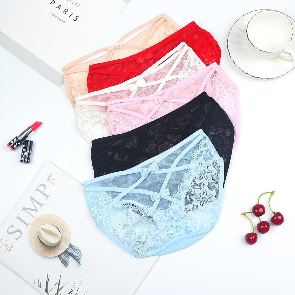Women Sexy Lace Bowknot Panties Hollow Cross Bandage Knickers Bowknot G-String Briefs Breathable Comfortable Underwear Intimates