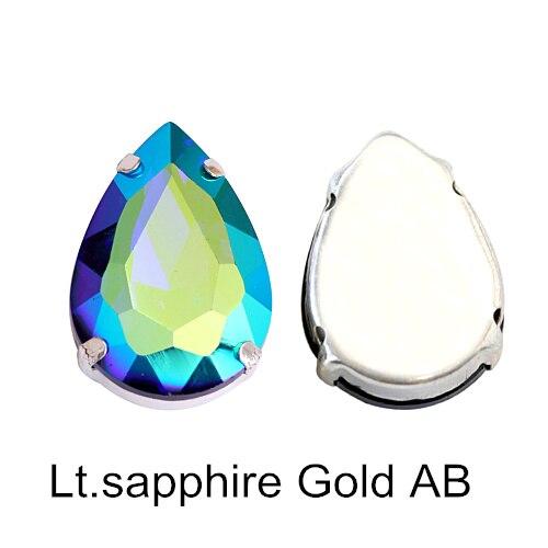 5 размеров красочные стеклянные хрустальные серебряные коготь пришивные стразы с коготь капли воды красные Пришивные коготь стразы для одежды B0403 - Цвет: Lt.sapphire Gold AB