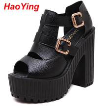 ankle strap sandals summer shoes platform heels 2016 thick high heels sandals for women gladiator sandals women shoes pumps D420