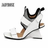 JADY ROSE 2018 New Strange Heel Women Sandals White Genuine Leather Sandalias Mujer 8CM Wedge Shoes