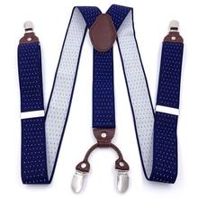 OnnPnnQ Fashion New Men Jacquard Suspenders 3.5 cm Wild 4Clips Elastic Adjustable Braces High Quality Male Pants Accessories