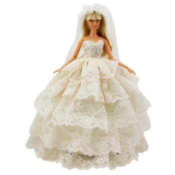 9718527a0d Alta calidad del desgaste de la boda vestido blanco Sexy encaje vestido  princesa falda + velo ropa para muñeca Barbie accesorios niños regalos