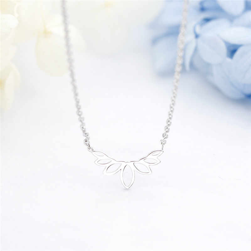 New Arrival Geometric Silver Color Leaf Necklace Women Minimalist Summer Jewelry Stainless Steel Chain Best Friend Gifts