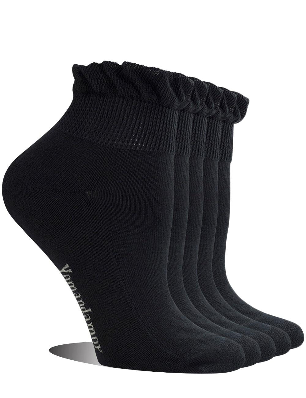Женская обувь; 5 пар; Нескользящие; Бамбуковые; Для диабетиков; Повседневные носки с бесшовным носком