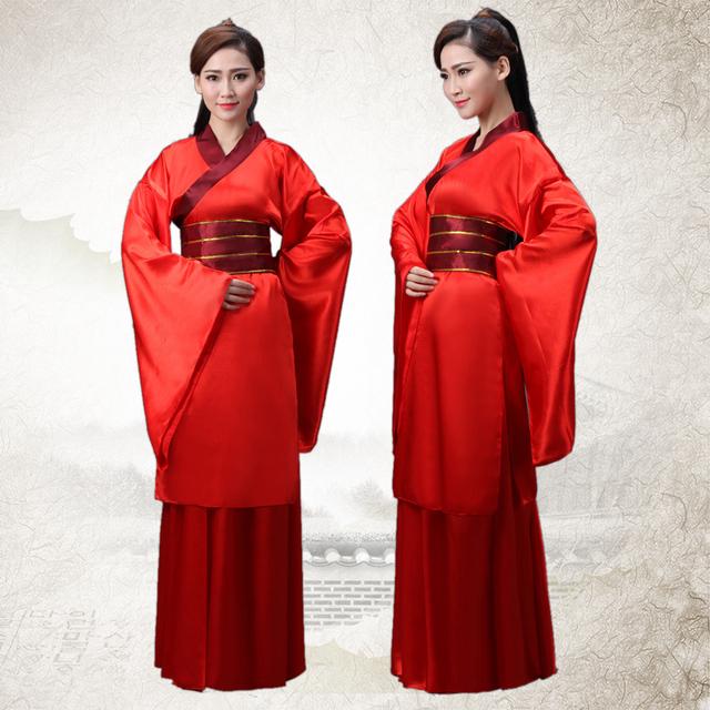 Envío Libre Rojo Chino Antiguo Traje Hanfu Traje Chino Antiguo traje de Cosplay Espadachín Guerrero Ropa Nacional