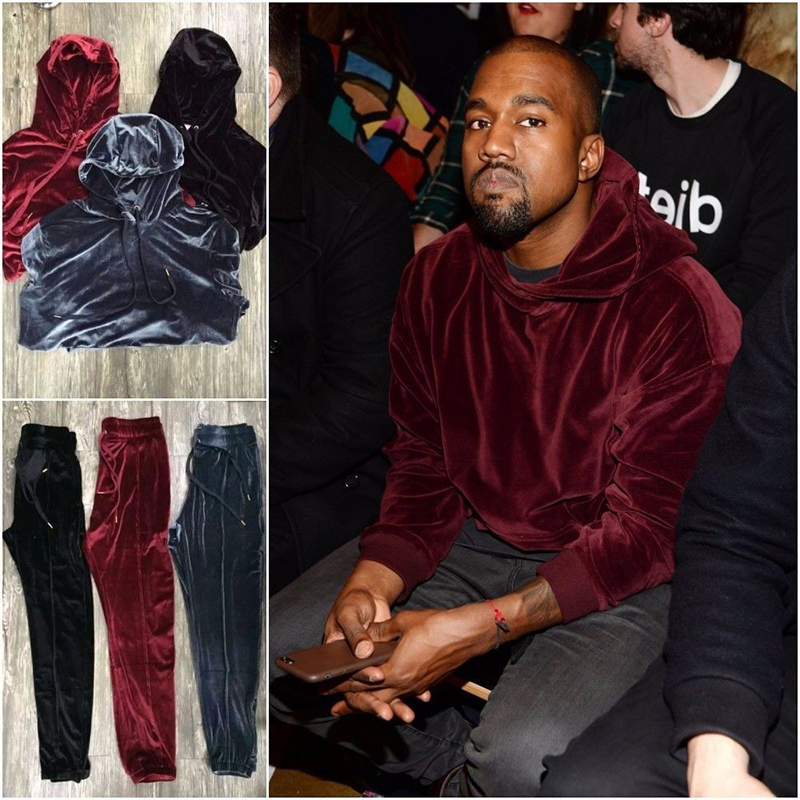 2018 Nouveau Arrivé Kanye West Streetwear Solide Color100 % Velours Hoodies Hommes Pulls Hip Hop Longues sweat-shirts Jeunesse Populaire S-XL