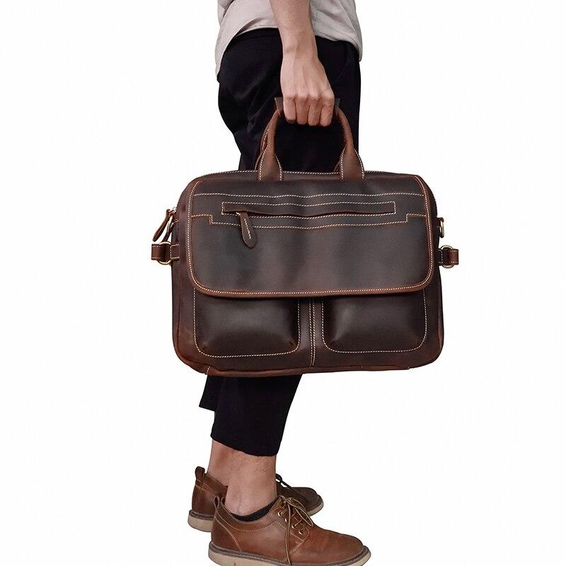 MAHEU Double Zipper Messenger Bag ไหล่กระเป๋าหนังแท้กระเป๋าถือหนังผู้ชายกระเป๋าถือชาย Crossbody กระเป๋า-ใน กระเป๋าเอกสาร จาก สัมภาระและกระเป๋า บน   3