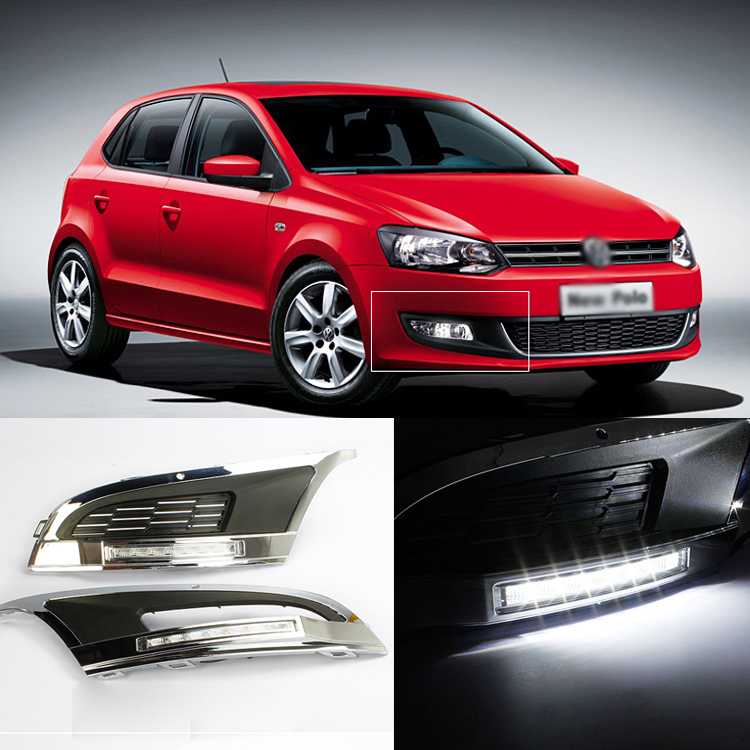 Brand New Updated LED Daytime Running Lights DRL With Black Foglight Cover For VW Polo 2012 brand new updated led daytime running lights drl with black foglight cover for mitsubishi lancer ex