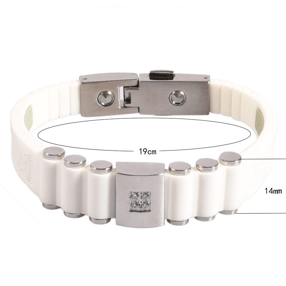 Wollet Jewelry 99 999 Germanium White Silicone Stainless Steel Bracelet Bangle for Men Negative Ion Health Care Wristband Golf in Wrap Bracelets from Jewelry Accessories