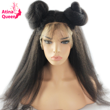 Atina Queen 180 Density Pre Plucked Kinky Straight 360 Lace Frontal Wig with Baby Hair For Black Women Remy Human Hair