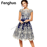 Fenghua 2018 Vintage Summer Dress Women Sexy Hollow Out Lace Dress Female Casual Short Sleeve Ball