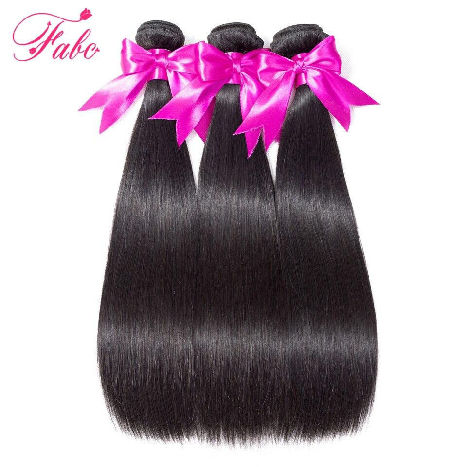 FABC Hair brazilian hair weave bundles straight non remy human hair extensions natural black 3 pieces