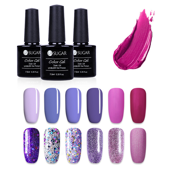 UR Sugar 7.5ml Purple Color Series Gel Varnish Long Lasting Nail Gel Polish Cured with UV LED Lamp Nail Art Polishes Gel Lacquer