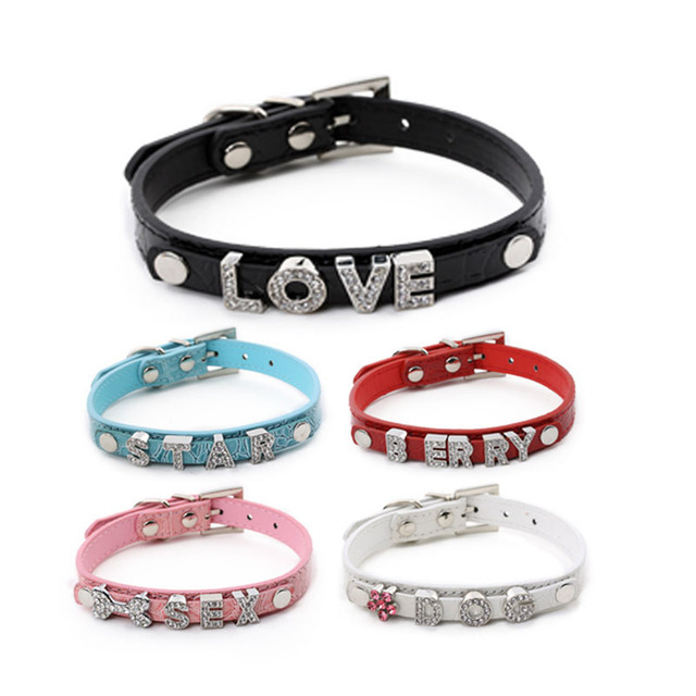 52380d2d79 Dog Collar Leather Bling Personalized Can Be Made With Rhinestone Buckle  DIY Letter Name Pet Puppy Cat Collars Pet Supplies-in Collars from Home &  ...