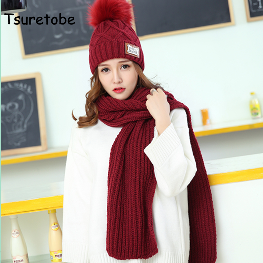 Tsuretobe 2018 Winter Hat Scarf Fashion Knit Crochet Beanies Cap Hats For Women Warm Scarf And Hat Twist Knitted Hat Beanies