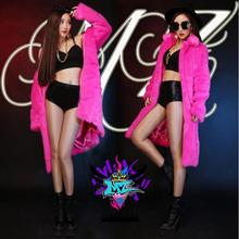 Hot 2016 New women DJ singer DS right Zhilong GD same style imitation mink rose red the long fur coats Sexy costumes B109