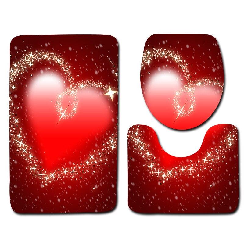 2018 New Valentines Day Theme Bathroom Mat Set 3pcs Anti Slip Bath Rugs Red Festive Decoration Floor Mat Bathroom