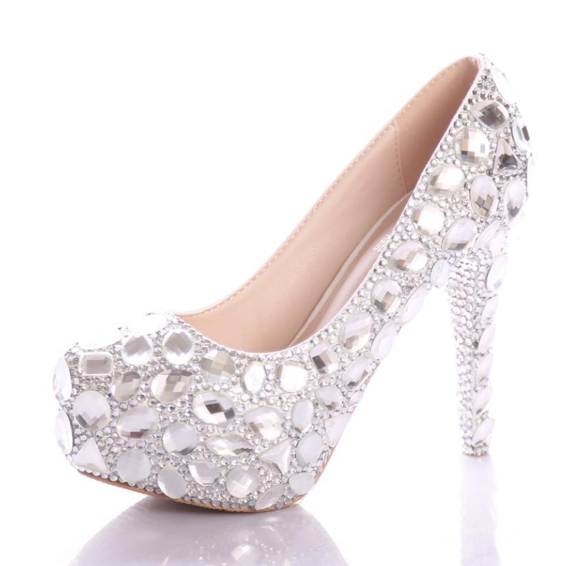 Chaussures Argent Et 10cm12cm14cm Mariée La Printemps En Mode Hauts Talons Cristal Été À 8awwqU7