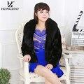 HONGZUO 2016 New Winter Women Warm Fur Coat With Fox Fur Collar Female Slim Faux Fur Coat Ladies Fur Jacket Parka PC120