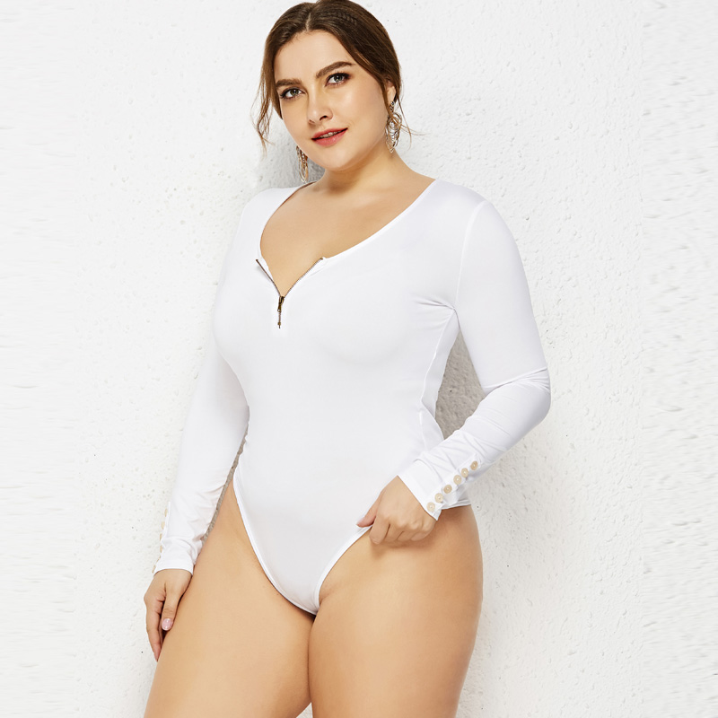 Plus Size 3XL 4XL 5XL 6XL Women Zipper   Jumpsuit   Rompers Sexy Lady O Neck Long Sleeve Bodycon Bodysuit Slim Fit Leotard Body Tops