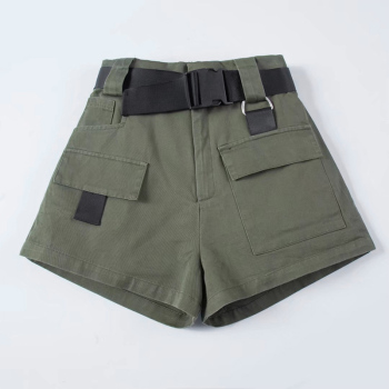 High Waist Wide Leg Cargo Women's Shorts Vintage Sashes Solid Khaki Pocket Women Shorts 2020 Summer Fashion NEW Casual Clothes 3