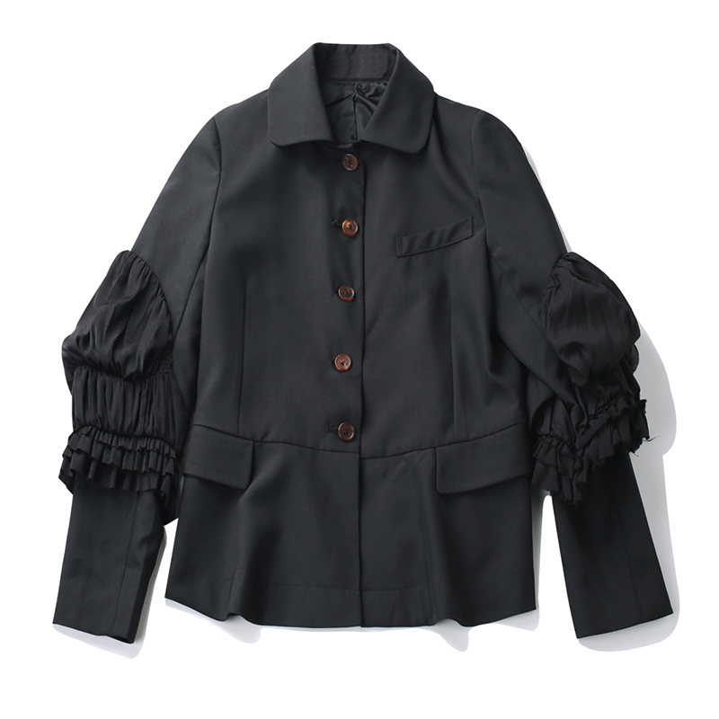 CHICEVER 2017 Autumn Costumes For Women's Blazer Jacket Female Coat Puff Sleeve Slim Black Fold Basic Coats Fashion Clothes New