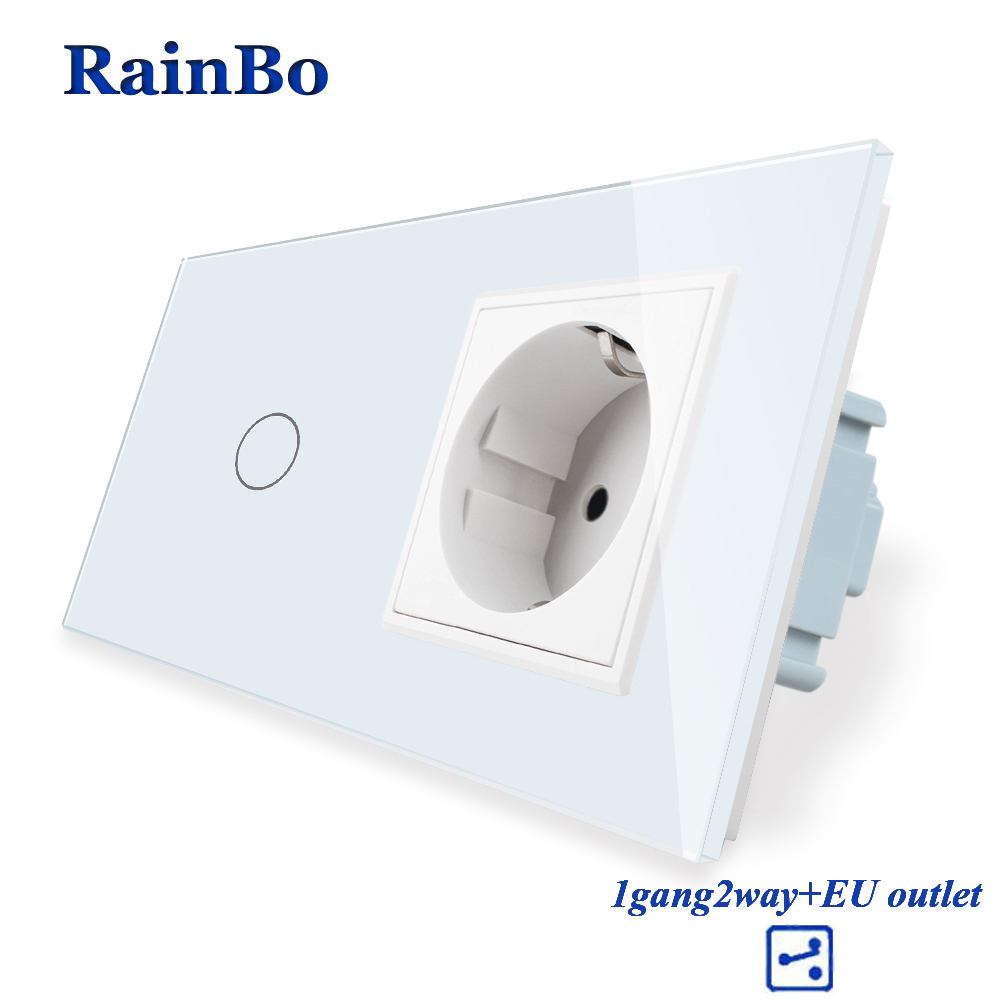 RainBo Brand Luxury  Touch Screen Control Tempered crystal Glass Panel Wall Light  Touch Switch Socket Wall Socket  A29128ECW/BRainBo Brand Luxury  Touch Screen Control Tempered crystal Glass Panel Wall Light  Touch Switch Socket Wall Socket  A29128ECW/B