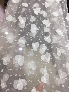 2018 New pattern 5yards/bag   JC04#     Heart shaped flower   lace fabric for bridal wedding dress/sawing Free shipping