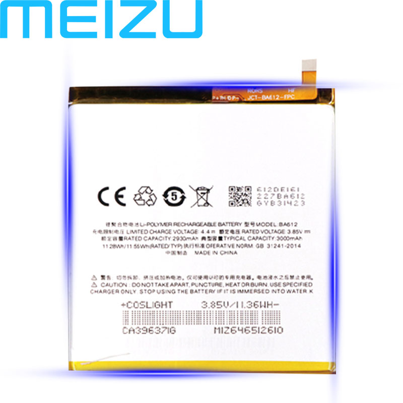Meizu 100% Original 3000mAh BA612 Battery For Meizu 5S M5S M612Q M612M Mobile Phone High Quality Battery With Tracking Number