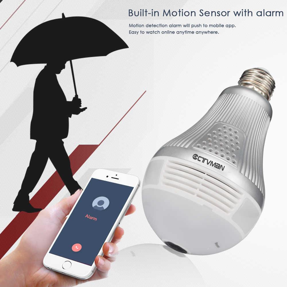 CTVMAN Wi-fi Panoramic IP Camera 3MP 360 Degree Led Light Bulb Lamp Fisheye Cam E27 Wireless VR 3D Wifi Security Led P2P Webcam