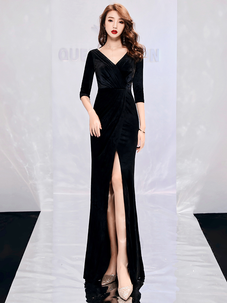 New arrival classic party   dress   half sleeve   evening     dresses   prom velour Vestido de Festa lace trumpet side slit long style