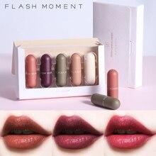 Pudaier 5pcs Matte Lipstick Set Long-Lasting Moisturizer Velvet Red Tint Batom Makeup Mini Capsule Kit