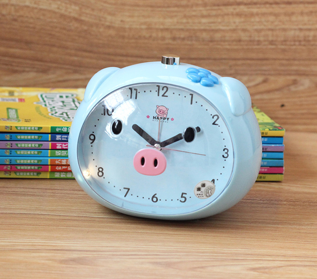 Novelty Little Pig Night Light Alarm Clock Lovely Cartoon Student Bedroom  Bedside Alarm Clock Excellent Birthday