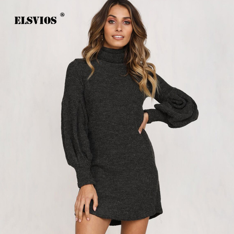 Detail Feedback Questions about ELSVIOS Puff Long Sleeve Mini Dress Women  Casual Turtleneck Solid Cotton Sweater Dress Knitted Korean Sexy Autumn  Winter ... e9b375a7c752