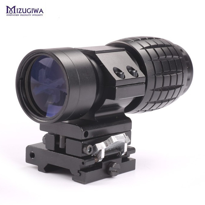 Hunting Quick Release 3X Magnifier Scope Sight W Picatinny 20mm Rail Flip to Side Mount for