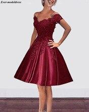 Burgundy Prom Dresses Short Off Shoulder A Line Knee Length Lace Up Back Lace Appliques Homecoming Dresses Vestidos De Festa