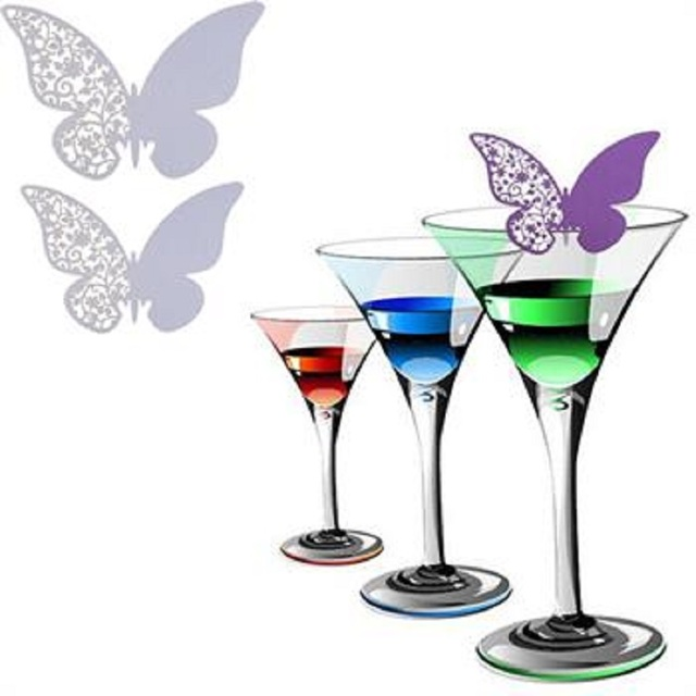 50Pcs Butterfly Place Wedding Evening Party Festive Home Table Decoration  Wine Glass Paper Name Card