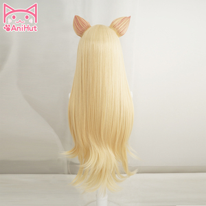 Image 3 - 【Anihut】LOL Game Ahri Cosplay Wig with ears KDA POP/STAR Ahri Cosplay Wig Women Long Straight Blonde Wig LOL KDA KPOP SKIN Hair