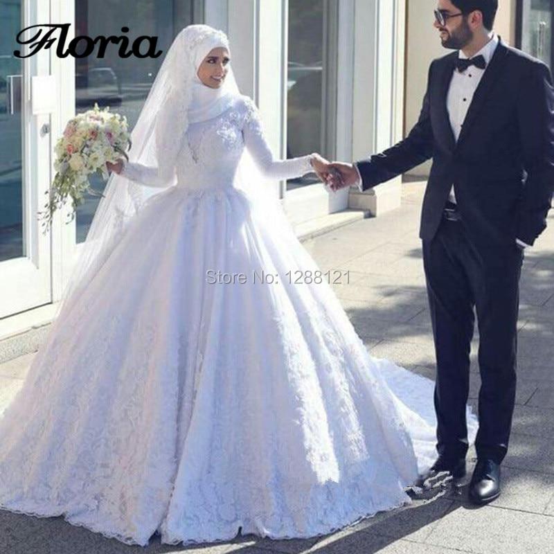 Muslim Wedding Dresses Saudi Arabia New Arrival 2019 Long Sleeve Lace Ball Gown Wedding Bridal Gown Vestido De Noiva Kaftans