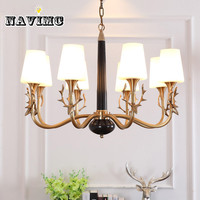 American LED chandelier antler copper living room lamp European deer head bedroom study modern rural village restaurant