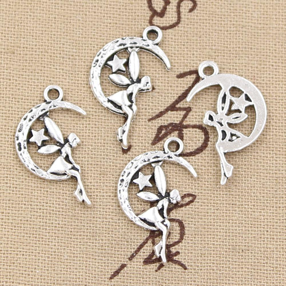 30pcs Charms Fairy Angel Moon Star 25x14mm Handmade Pendant Making fit,Vintage TibetanBronze,DIY For Necklace