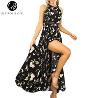Lily Rosie Girl Women 2017 Black Off Shoulder Floral Boho Sexy Beach Party Maxi Dress Hollow