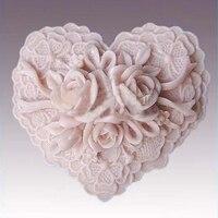 DIY Valentijnsdag Creatieve Zeep Mold Rose Bloem Hartvorm Fondant Chocolade Schimmel Silicone Zeep Mold Cake Bakken Tools SM026