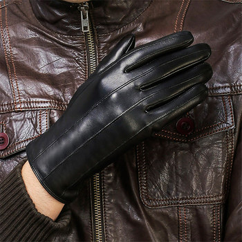 Men's Genuine Leather Gloves New Autumn Winter Keep Warm Driving Sheepskin Gloves Male Fashion Black Mittens XC-109-2 women s genuine leather gloves black sheepskin finger driving gloves spring autumn thin velvet lined warm fashion mittens tb13