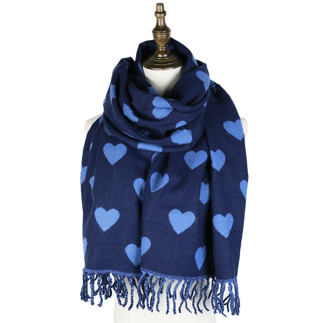 Luxury Thick Hearts Printed Women's Cashmere Scarf